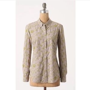 Anthro Odille Button Down Eyelet Vine Shirt